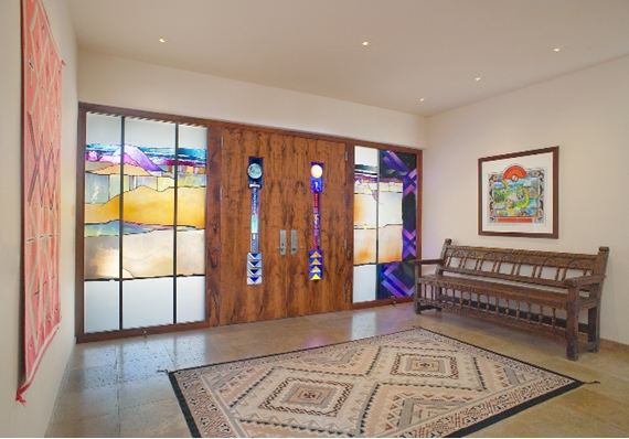 Wood and art-glass entry